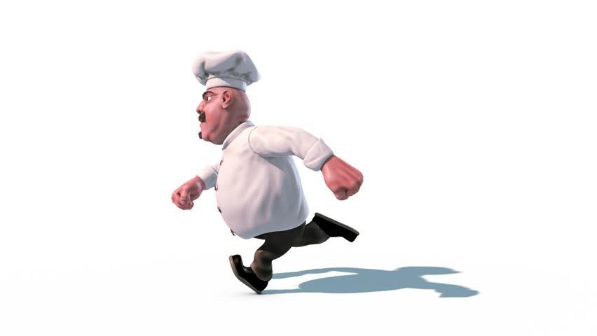 Fun Chef Fast Run Alpha Matte Side 3D Rendering Animation