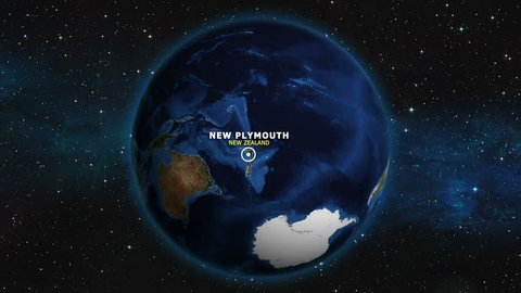 NEW ZEALAND NEW PLYMOUTH ZOOM IN FROM SPACE