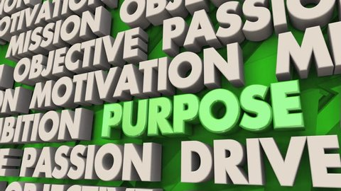 Purpose Mission Goal Objective Word Collage 3d Animation