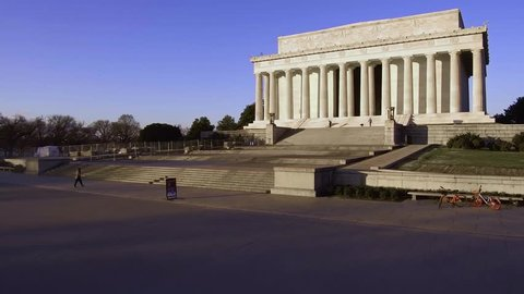 Tracking shot of The Lincoln Memorial in Washington DC