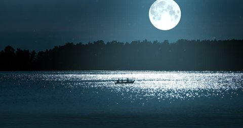 Boat with Fishermen in Full Moon. A boat in the distance floats along the sparkling moonlit against the backdrop of a big moon and dark forest.