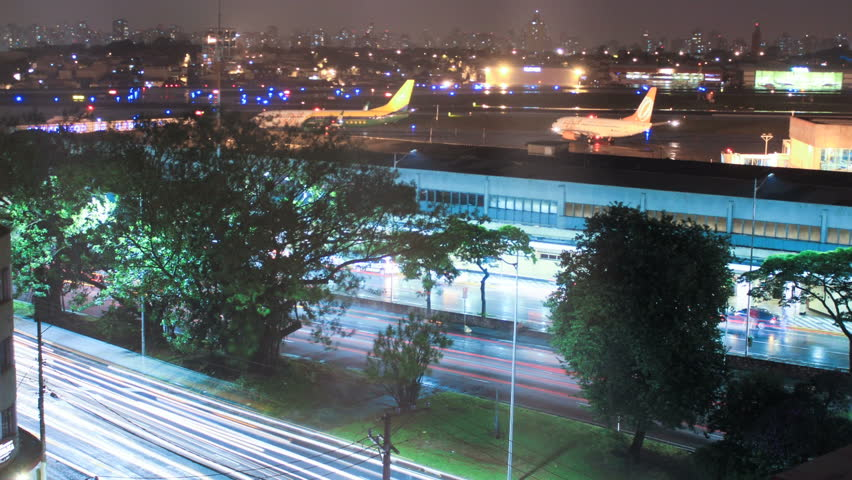Sao Paulo airport. Congonhas CGH, Brazil. Time lapse. Airplanes, traffic. 4K