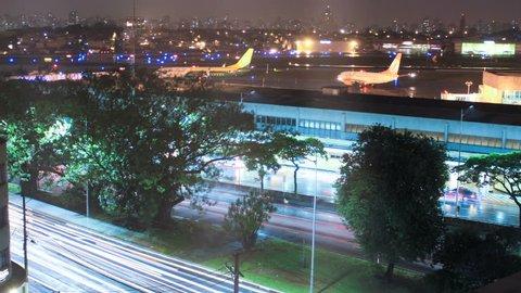 Sao Paulo airport. Congonhas CGH, Brazil. Time lapse. Airplanes, traffic. 4K