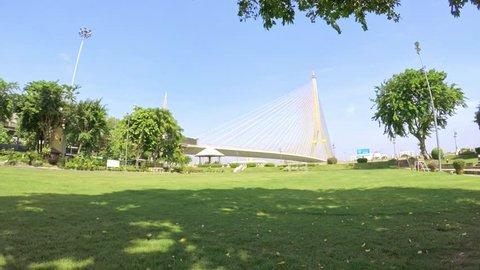Rama 8 bridge whit grass in Bangkok, Thailand. Colly camera