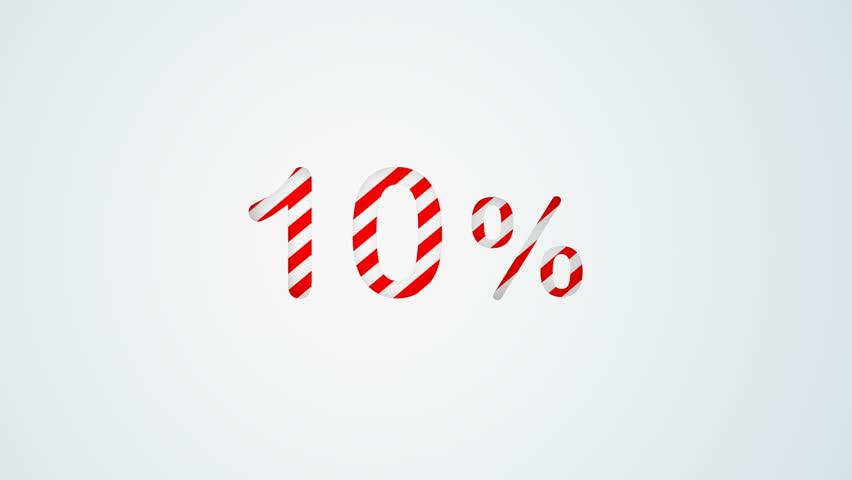 Colour stripes 10 percent numerical background animation