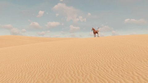 Arabic man in traditional emirates clothes and his thoroughbred red horse standing among boundless sandy desert dunes at daytime. Realistic 3D animation rendered in 4K