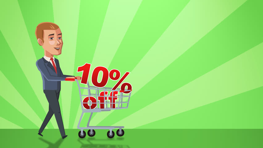 Cartoon Situation John Businessman. Man Character Walk with Shopping Cart with 10 Percent Animation Alpha Channel