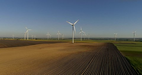 Aerial view of Windmill, Wind Power, Turbine, Energy Production, Kaszuby in Poland