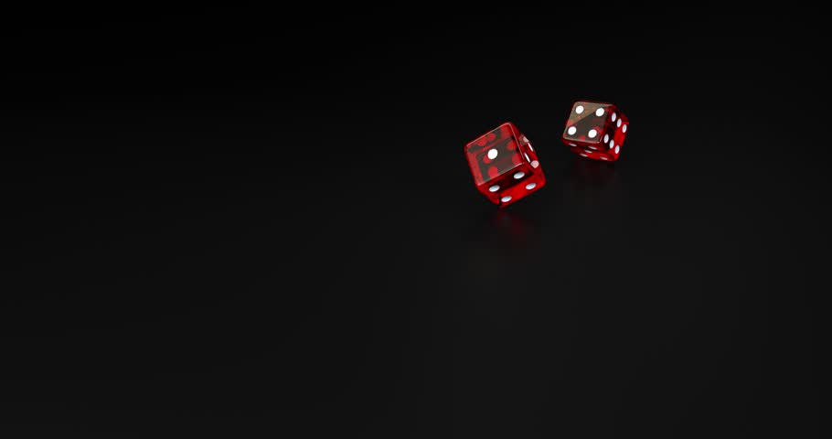 Red dice falling on black background in slow motion 3D rendering