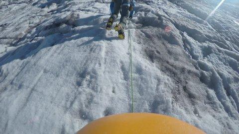 POV Mountaineering Mt. Rainier, Washington at High Altitude