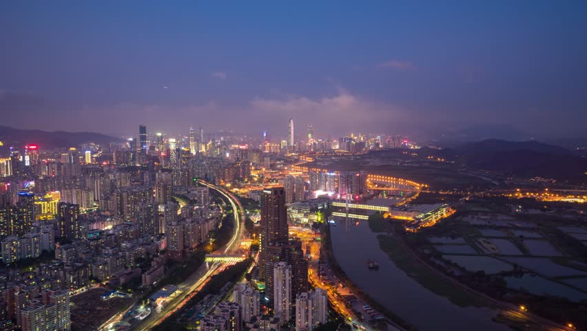 4K, Timelapse of Shenzhen financial street  from day to night. Panoramic skyline and buildings,China