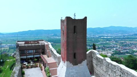 Flight over the real Romeo and Juliet's castles. The story was born in a small town called Montecchio, where the two fighting families had castles facing each other.