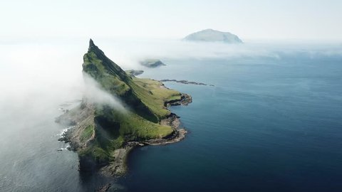 Dramatic aerial view of Tindhólmur island in Faroe Islands.