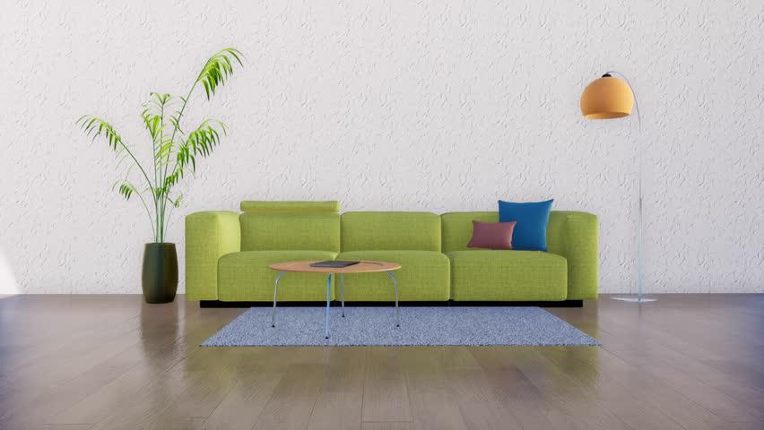 Modern Minimalist Living Room Interior Stock Footage Video (100 ...