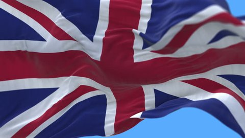 4k flag of the United Kingdom Of Great Britain and Northern Ireland (Union Jack) slow waving with visible wrinkles.A fully digital rendering,loops at 20 seconds.flag 3D animation with alpha channel.