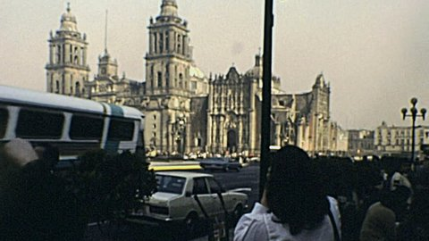 MEXICO CITY - 1983: people taking pictures of Metropolitan Cathedral in 1983 in Mexico City