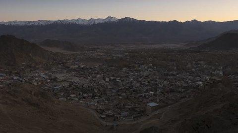 Aerial view of Leh city in Ladakh, India