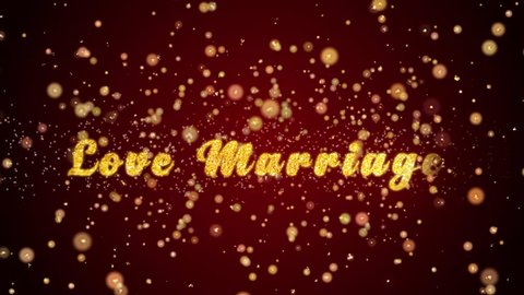 Love Marriage Greeting Card text with sparkling particles shiny background