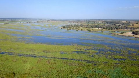 Aerial landscape in Okavango delta on Namibia and Angola border. River with shore and green vegetation after rainy season.