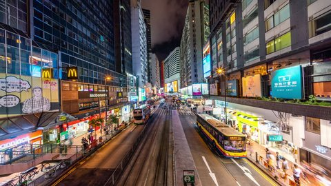 Causeway Bay, Hong Kong - June 30, 2018: Causeway Bay Timelapse view showing high angle view over street at Causeway bay at night