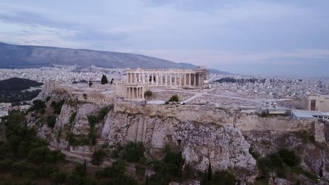 Athens, Greece. Aerial view of the Athenian Acropolis, Parthenon on the mountain. About athens, plaka, shopping, street, market, sicily, ermou, people, greece, travel, square, summer, taormina, food,