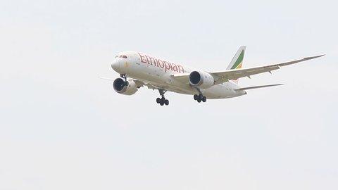 BANGKOK THAILAND - JUNE15,2017 : ethiopia airline plane approaching for landing to suvarnabhumi airport