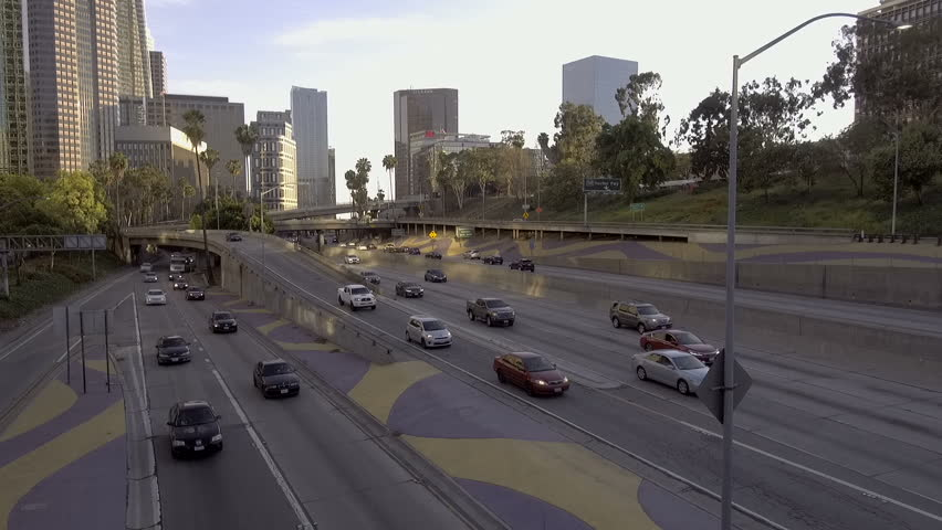 Downtown Los Angeles California Freeway Traffic and Skyscrapers View 02.mov  | Shutterstock HD Video #1013371064