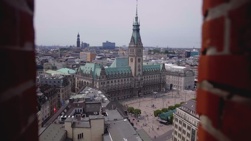Hamburg Rathaus aerial view Timelapse | Shutterstock HD Video #1013374634