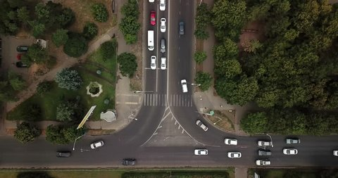 Aerial Drone Flight View footage of freeway city traffic jam. Top down view from drone.