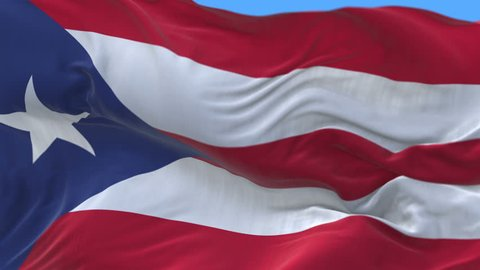 4k seamless Close up of Puerto Rico flag slow waving with visible wrinkles.A fully digital rendering,The animation loops at 20 seconds.flag 3D animation with alpha channel included. cg_06309_4k