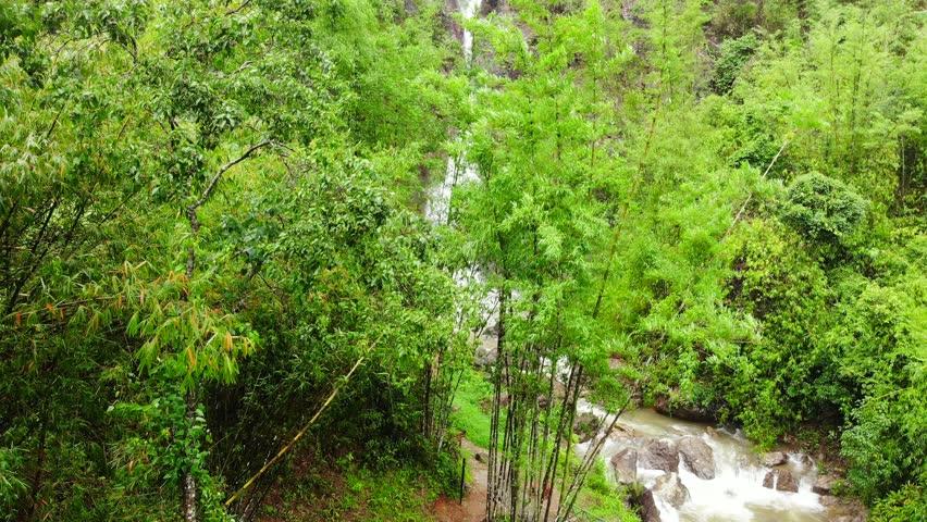 Aerial view from drone top view Unseen Jokkradin Waterfall at Thong Pha Phum National Park , Pilok Kanchanaburi, Thailand