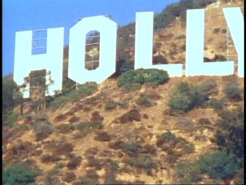 HOLLYWOOD, 1982, Hollywood sign, close up, zoom out, classic shot