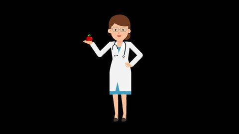 Animated female doctor in a white coat with a stethoscope around her neck is holding a red apple in her hand