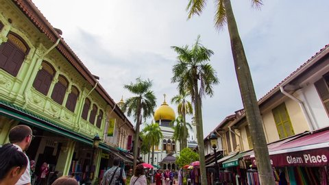 Motion timelapse hyperlapse dolly in shot of sultan mosque in singapore