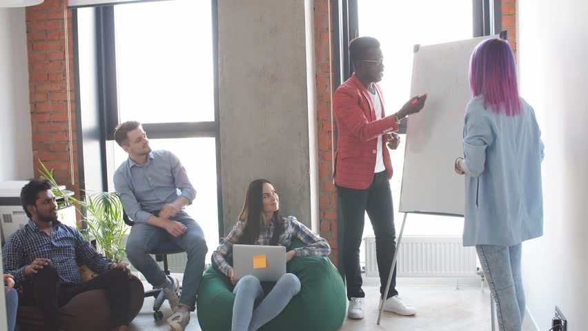 Young people of different races and nationalities having team building training, looking at African man presenting his ideas on flipchart at sunny loft interior studio.   Shutterstock HD Video #1013524844