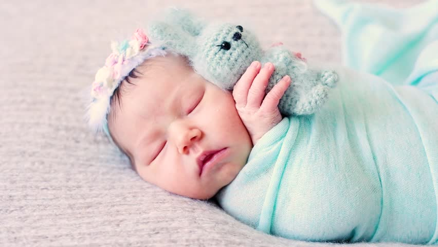 3fd610378290d Adorable Newborn Little Baby Wrapped Stock Footage Video (100 ...