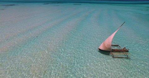Aerial clip of a local Dhow boat in Zanzibar.
