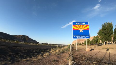 Lupton, Arizona June 19th, 2018  Time Lapse Footage of the Welcome Sign entering The US State of Arizona.
