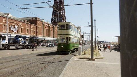 Blackpool heritage Tram stock footage. Blackpool, UK. 29/06/18