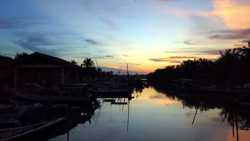 Fine art footage, Aerial view of Fisherman jetty at Kelanang beach, Malaysia during sunset. 4k | Shutterstock HD Video #1013591864