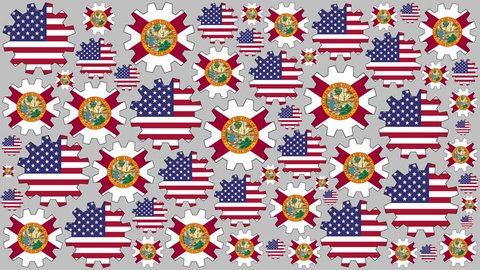 American and Florida US state flag gears rotating background