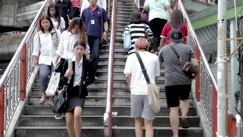 Bangkok / Thailand - July 13, 2015: Bangkok People Walk Up And Down Public Stairs On The Street In The City Center