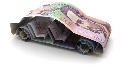 Car Finance with Colombian Pesos 3d rendering