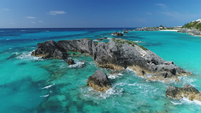 Aerial of Bermuda shot in April of 2017. Bermuda is a British island territory in the North Atlantic Ocean known for its pink-sand beaches.
