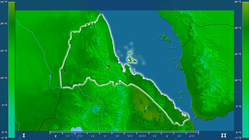 Minimum temperature by month in the Eritrea area with animated legend - glowing shape, administrative borders, main cities, capital. Stereographic projection