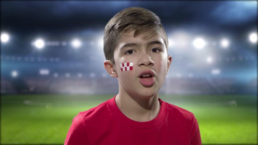 Croatian fan celebrating victory | Shutterstock HD Video #1013645084