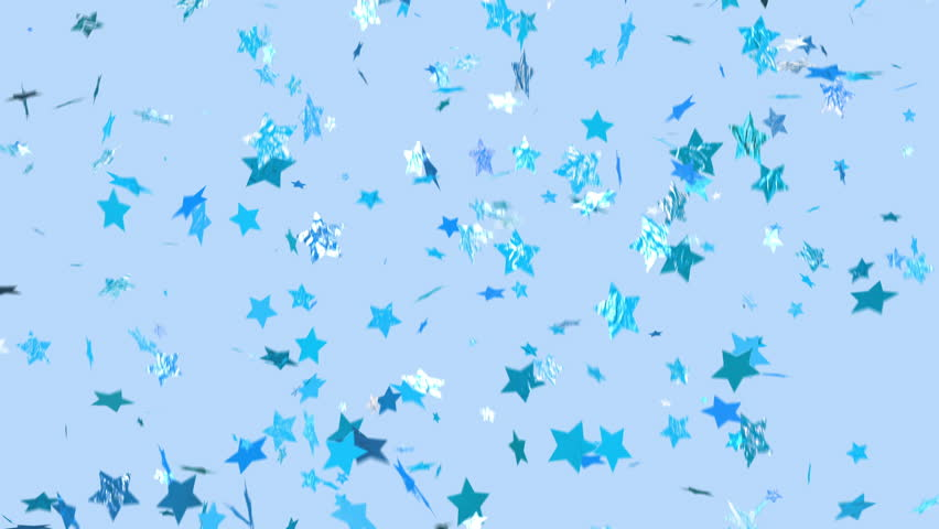 SURPRISE! Blue confetti falls over a blue background. Loopable, star shaped confetti drifts from top to bottom and clears frame. Trending and modern colors. See portfolio for similar and more!