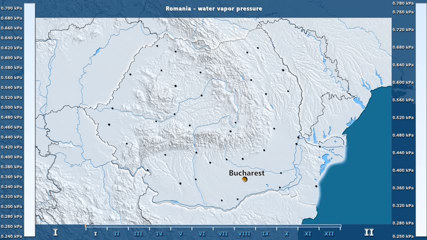 Water vapor pressure by month in the Romania area with animated legend - English labels: country and capital names, map description. Stereographic projection