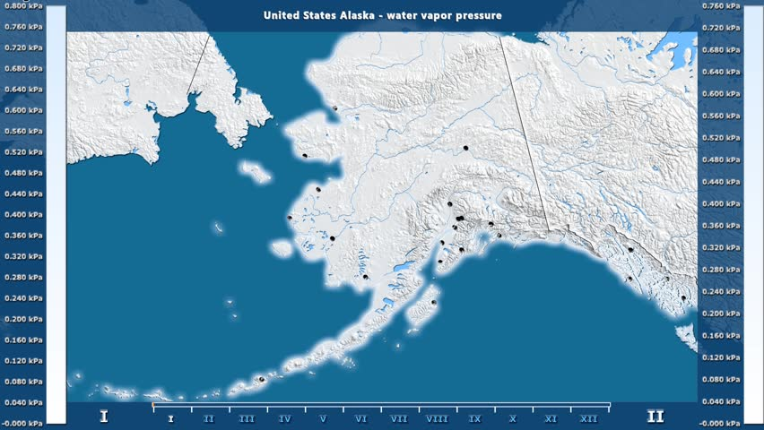 Water vapor pressure by month in the United States Alaska area with animated legend - English labels: country and capital names, map description. Stereographic projection