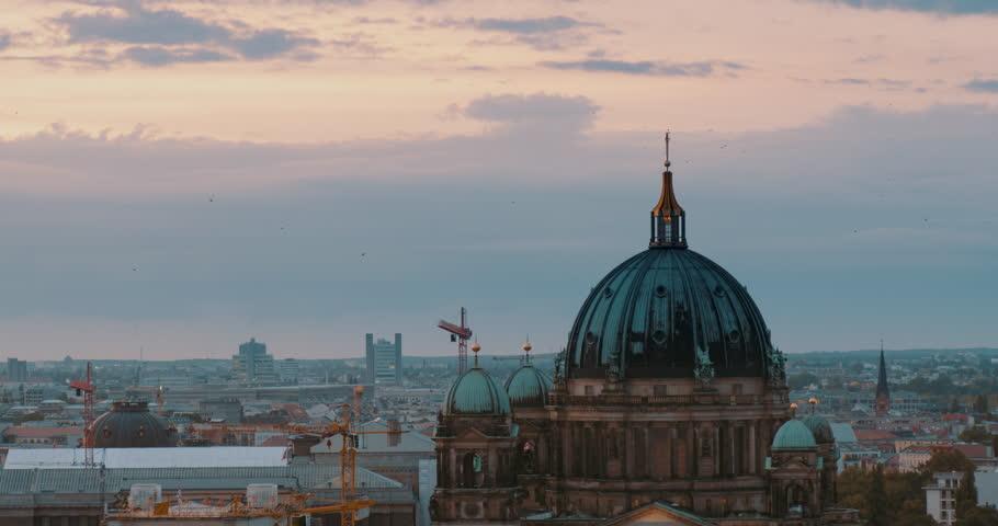 Berlin Cathedral (Berliner Dom) skyline sunset. Static shot filmed in 4k UHD 2160p | Shutterstock HD Video #1013666234